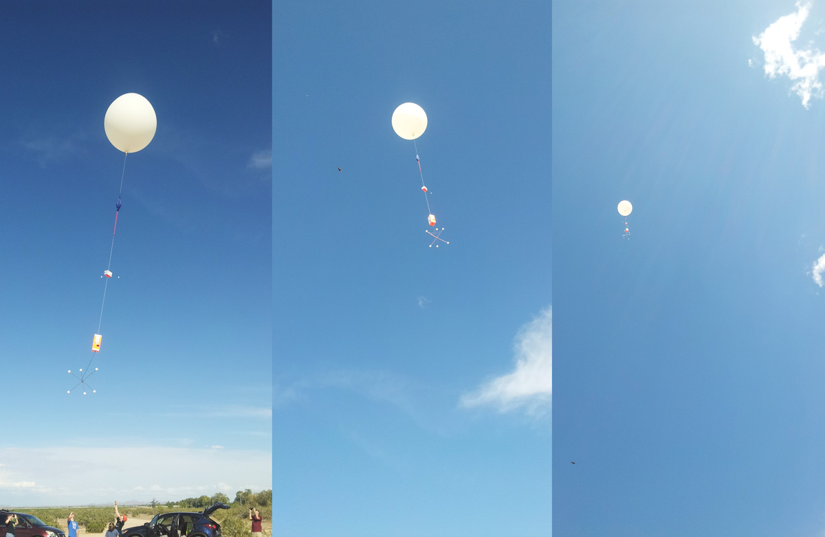 launching high altitude weather balloon