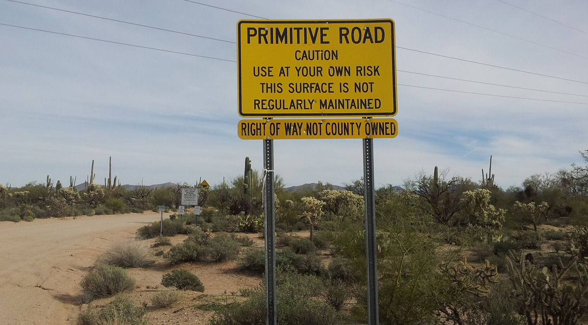 primitive road in the desert
