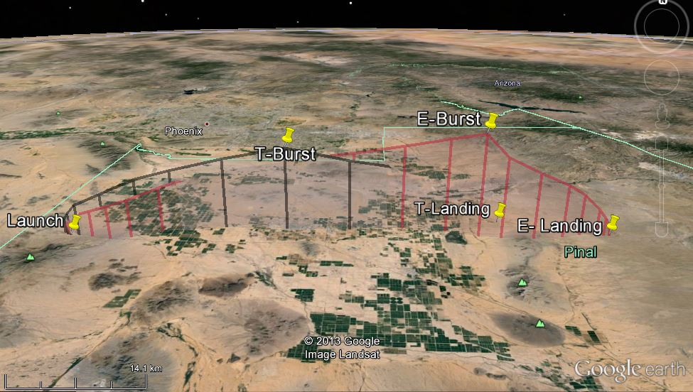 google earth HAB balloon paths